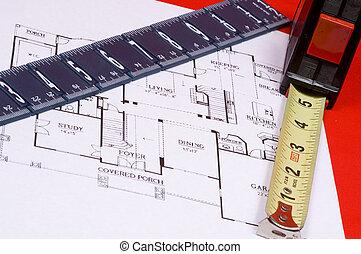 medición, casa, cinta, floorplan, regla