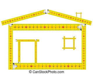 medición, casa, hecho, cinta