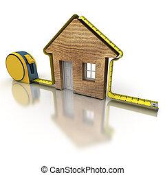 medición, casa, madera