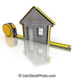 medición, casa, mortero