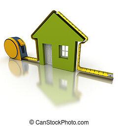 medición, casa, verde