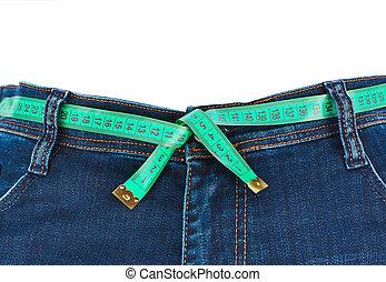 medición, concepto, vaqueros, -, slimming, cinta
