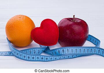 medición, corazón, fruits, fresco, tape., rojo