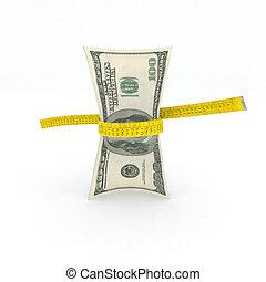 medición, dinero, dólares, cinta, 100
