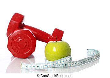 medición, dumbbells, manzana, cinta, plano de fondo, verde