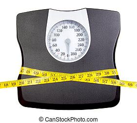 medición, escala cuarto baño, cinta