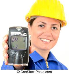 medición, explosivo, gases., portátil, detector, dispositivo, concentración, multi-gas, ingeniero