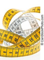 medición, fondo., cinta blanca