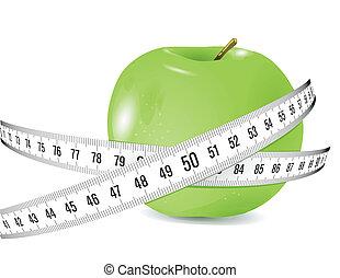 medición, fresco, cinta, manzana