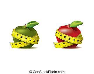 medición, fresco, cinta, manzanas