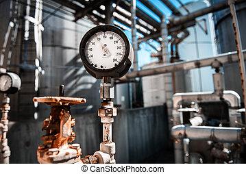 medición, gas, manómetro, presión