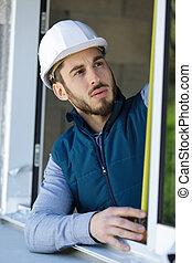 medición, instalación, obturador, prior, ventana, aire libre...