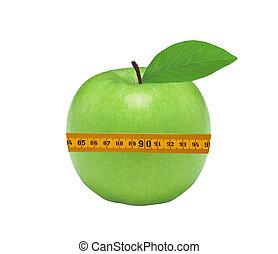 medición, manzana, verde, aislado, cinta, fresco, blanco