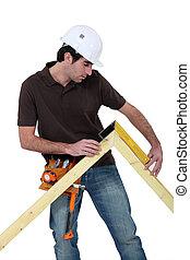 medición, marco, puerta, artesano