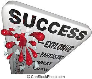 medición, meta, éxito, exitoso, termómetro, progreso