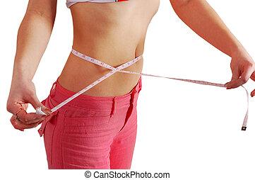 medición, mujer, cinta, cintura, ella
