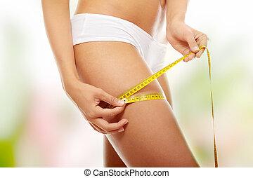 medición, mujer, ella, leg., foto, métrico, después, muslo,...