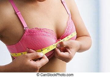 medición, mujer, pecho, tamaño