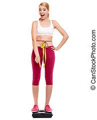 medición, mujer, pesar, weight., scale., feliz