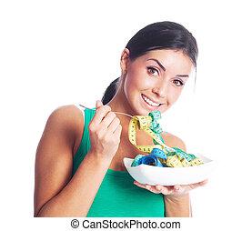 medición, mujer que come, cintas