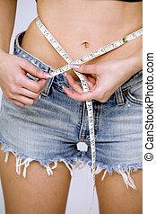 medición, niña, cintura, ella