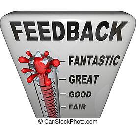 medición, opiniones, reacción, nivel, revisiones, termómetro