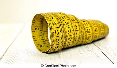 medición, pérdida de peso, concepto, dieta, cinta, bandera