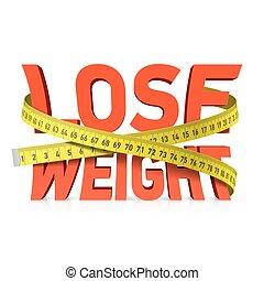 medición, palabra, cinta, peso, perder