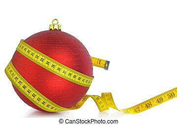 medición, pelota, aislado, cinta, navidad blanca