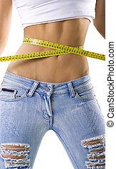 medición, pequeño, mujer, cintura, ella
