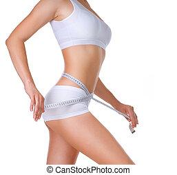 medición, perfecto, mujer, ella, delgado, cuerpo, waistline.