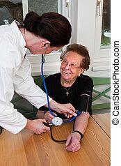 medición, presión, paciente, sangre, doctor