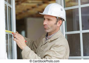 medición, prior, ventana, instalación, hombre