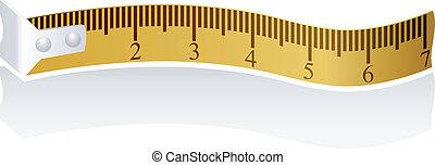 medición, vector, cinta, ilustración
