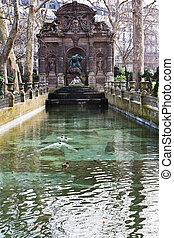 Medici Fountain in luxembourg garden in Paris - Fontaine de...