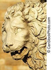 Medici Lion ,sculpture by  Flaminio Vacca , Loggia dei Lanzi , P