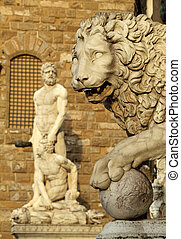 Medici Lion ,sculpture by Flaminio Vacca in Loggia dei Lanzi...