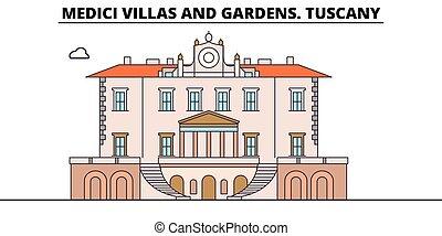 Medici Villas And Gardens. Tuscany line travel landmark, skyline vector design. Medici Villas And Gardens. Tuscany linear illustration.