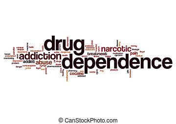 medicijn, afhankelijkheid, woord, wolk
