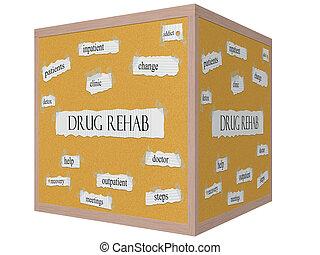medicijn, rehab, 3d, kubus, corkboard, woord, concept