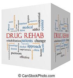 medicijn, rehab, 3d, kubus, woord, wolk, concept