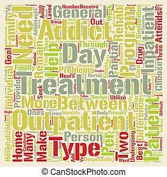 medicijn, rehab, poliklinische patiënt, vs, inpatient, wat, s, de, verschil, woord, wolk, concept, tekst, achtergrond