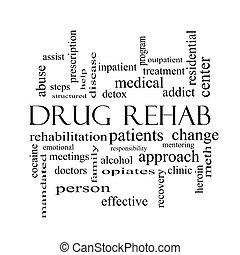 medicijn, rehab, woord, wolk, concept, in, zwart wit