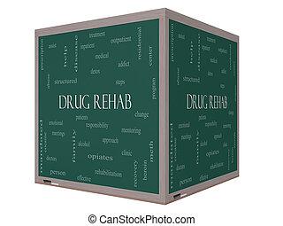 medicijn, rehab, woord, wolk, concept, op, een, 3d, kubus, bord