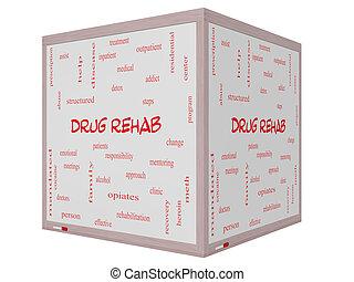 medicijn, rehab, woord, wolk, concept, op, een, 3d, kubus, whiteboard