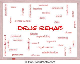 medicijn, rehab, woord, wolk, concept, op, een, whiteboard