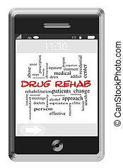 medicijn, rehab, woord, wolk, concept, op, touchscreen, telefoon