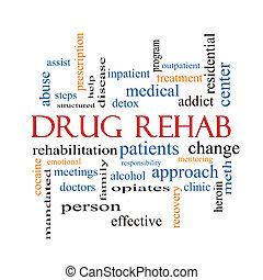 medicijn, rehab, woord, wolk, concept