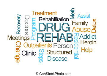 medicijn, rehab, woord, wolk