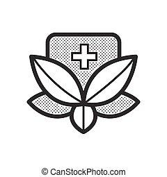 medicin, alternativ, ikon